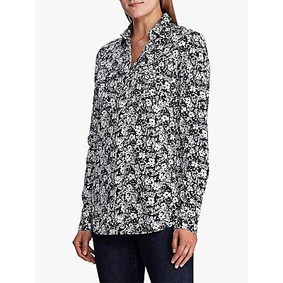 Lauren Ralph Lauren Floral Cotton Voile Shirt, Lauren Navy/Cream