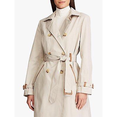 Lauren Ralph Lauren Faux Leather Trim Trench Coat, Tone Cream