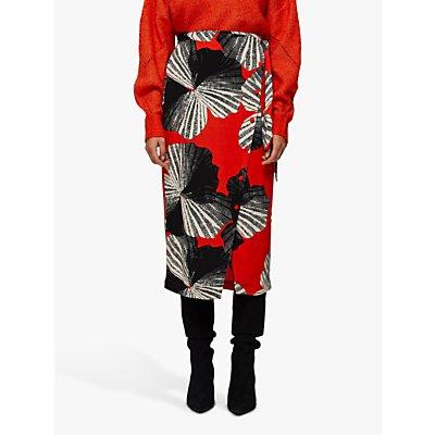 Selected Femme Kairi Print Skirt, Orange