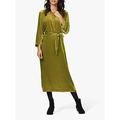 Brora Belt Velvet Midi Dress, Citrine