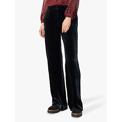 Brora Velvet Silk Wide Leg Trousers, Ink