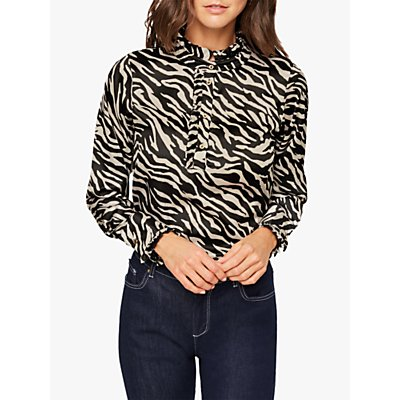 Damsel in a Dress Aimee Zebra Print Blouse, Neutral/Black