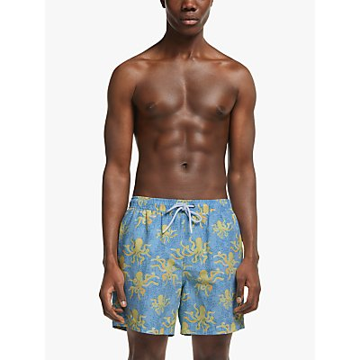 John Lewis & Partners Recycled Poly Octopus Swim Shorts, Blue/Yellow