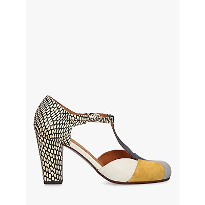 Chie Mihara Urit T-Bar Suede Cone Heel Court Shoes, Multi