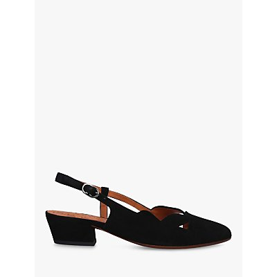 Chie Mihara Rune Low Block Heel Slingback Suede Court Shoes, Black