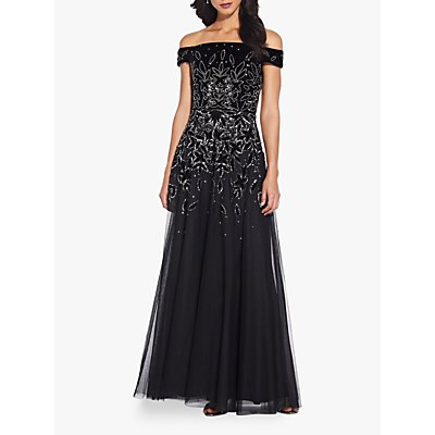 Adrianna Papell Beaded Velvet Gown, Black/Mercury