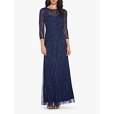 Adrianna Papell Beaded Long Dress, Navy