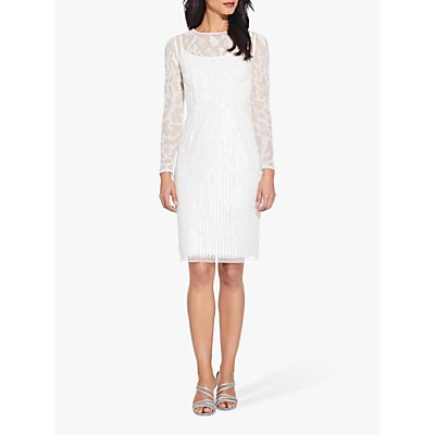 Adrianna Papell Beaded Illusion Dress, Off White