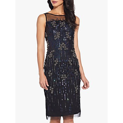Adrianna Papell Bead Mesh Dress, Black