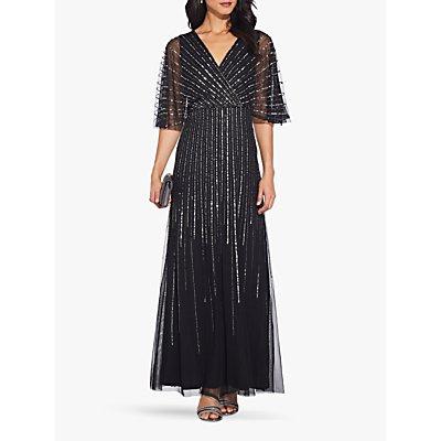 Adrianna Papell Sequin V-Neck Dress, Black/Mercury