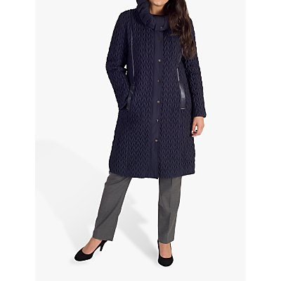 Chesca Embroidered Quilted Coat, Navy