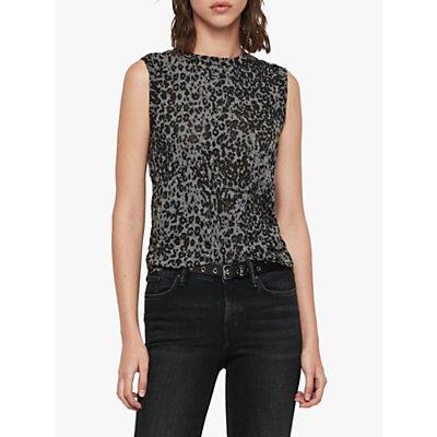 AllSaints Imogen Leopard Print Tank Top, Ash Black