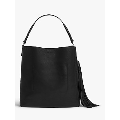 AllSaints Shirley North South Large Leather Tote Bag, Black