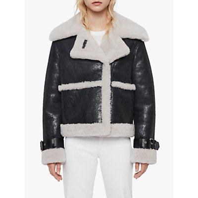 AllSaints Farley Shearling Coat, Black/Ecru White