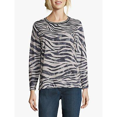 Betty & Co Zebra Print Top, Black/Beige