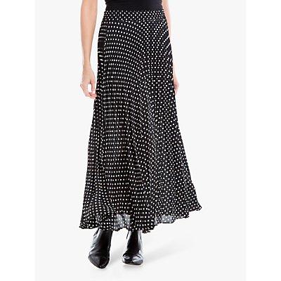 Max Studio Spot Print Pleated Skirt, Black/Ivory