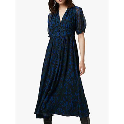 French Connection Inari Leopard Print Midi Dress, Electric Blue