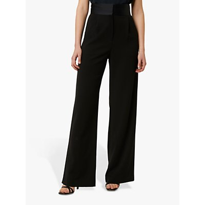 French Connection Amato Suiting High Waist Wide Leg Trousers, Black