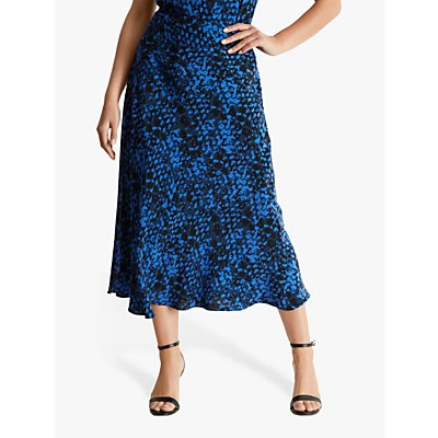 Fenn Wright Manson Petite Georgine Animal Print Midi Skirt, Blue