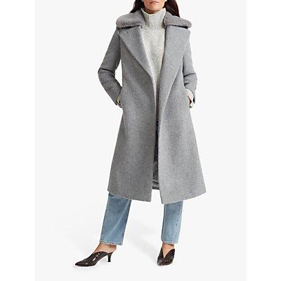 Club Monaco Bay Faux Fur Trim Wool Blend Coat, Grey