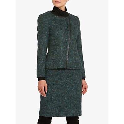 Helen McAlinden Blair Faux Leather Trim Jacket, Teal