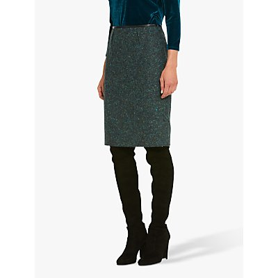 Helen McAlinden Kylie Wool Blend Pencil Skirt, Teal