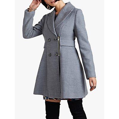 Yumi Military Zip Coat, Grey