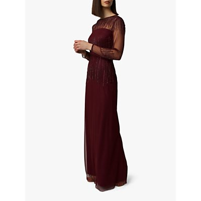 Raishma Laurel Bead Embellishment Gown, Burgundy