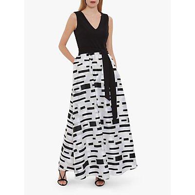 Gina Bacconi Pari Crepe & Organza Pattern Maxi Dress