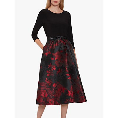 Gina Bacconi Jette Floral Jacquard Dress, Black/Red