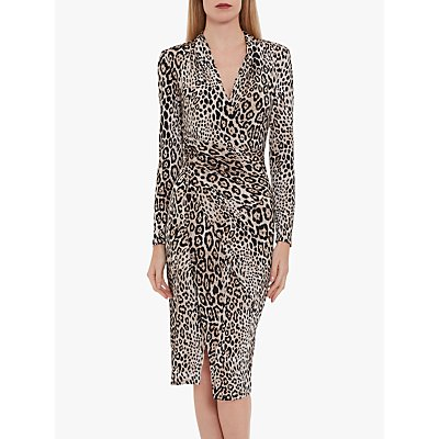 Gina Bacconi Mirra Leopard Print Jersey Dress, Beige/Black