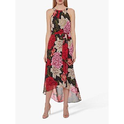 Gina Bacconi Azania Floral Belted Dress, Black/Multi