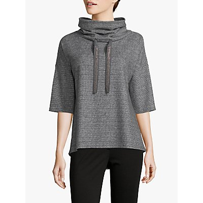 Betty Barclay Tweed Effect Jersey Tunic, Black/Grey