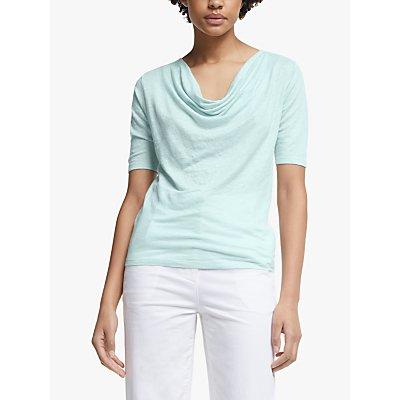 John Lewis & Partners Half Sleeve Drop Neck Jersey Linen Top