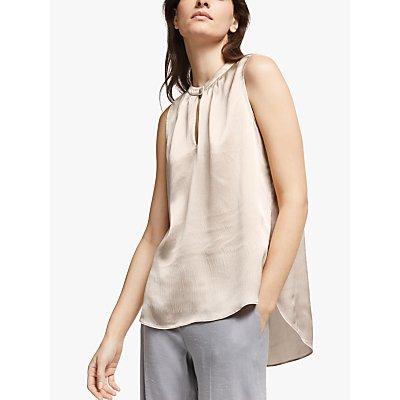 Modern Rarity Hammered Silk Notch Neck Top, Light Pink
