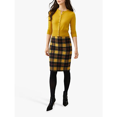 Pure Collection Wool Pencil Skirt, Black/Yellow Check