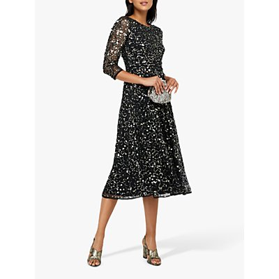 Monsoon Amber Heart Sequin Embellished Midi Dress, Black