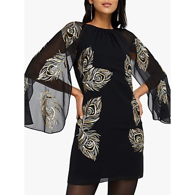 Monsoon Cara Peacock Embroidered Cape Dress, Black