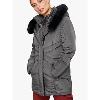 Monsoon Victoria Short Wrap Padded Coat, Grey