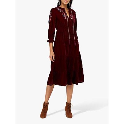 Monsoon Vivi Velvet Embroidered Midi Dress, Berry
