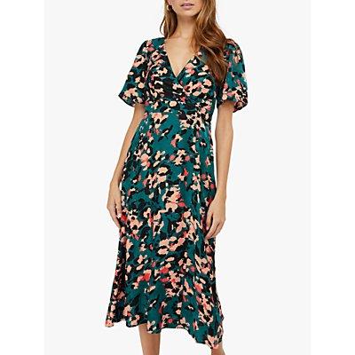 Monsoon Allegra Animal Print Tea Dress, Teal