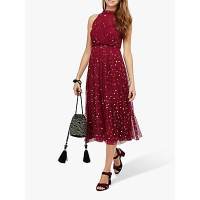 Monsoon Chiara Tulle Halter Sequin Midi Dress, Red