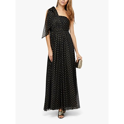 Monsoon Mia Metallic Spot One Shoulder Maxi Dress, Black