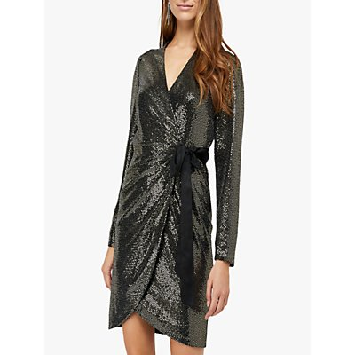 Monsoon Trinity Tux Sequin Dress, Gold