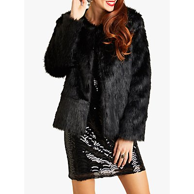 Yumi Fur Jacket, Black