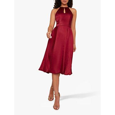 Chi Chi London Amee Flared Dress, Burgundy