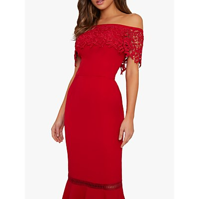 Chi Chi London Alba Lace Bodycon Dress, Red