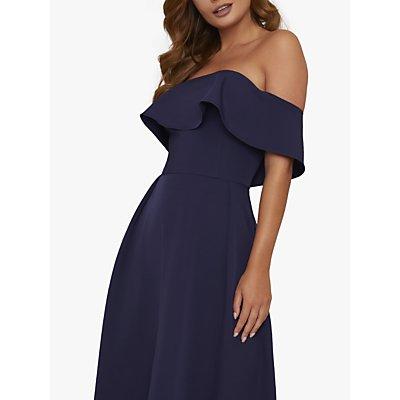 Chi Chi London Yazmina Asymmetric Hem Bardot Dress, Navy