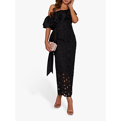 Chi Chi London Arina Crochet Maxi Dress, Black