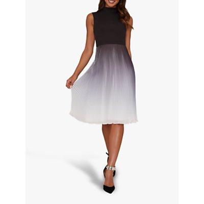 Chi Chi London Adelaide Knife Pleat Flared Dress, Black/Multi
